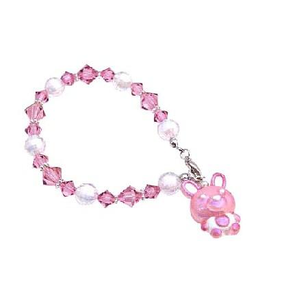 Vintage Easter Bunny Rabbit Bracelet Rose Crystal Pink Charm