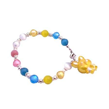 Handmade Cat Eye Easter Bunny Rabbit Bracelet Multicolor Bead Bracelet