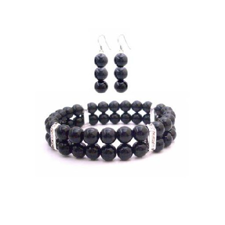Double Stranded Black Pearl Wedding Bracelet & Earrings Jewelry Set