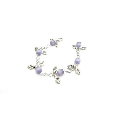 Purple Cat Faceted Leaves Charm Leave Bracelet Stunning chain Bracelet