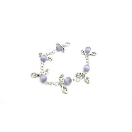 Purple Cat Faceted Leaves Charm Leave Bracelet Stunning chain Bracelet