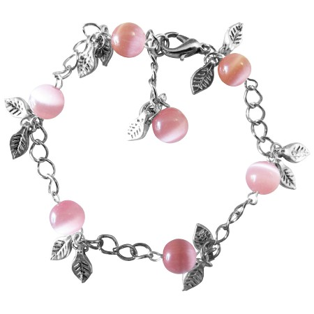 Cool Christmas Gift Affordable Wedding Pink Cat Faceted Beads Bracelet