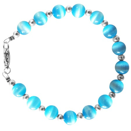 Round Faceted Blue Cat Eye Silver Beads Bracelet Bridal Gift Jewelry