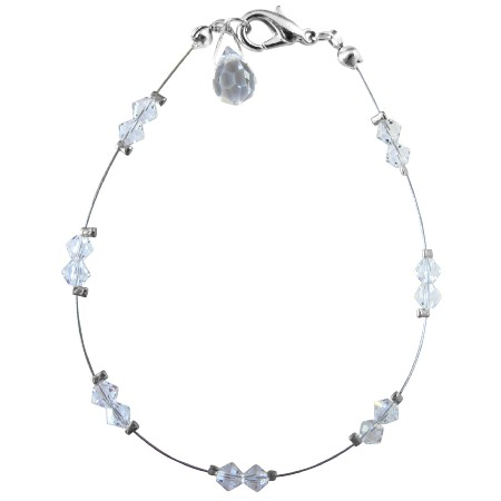 Wedding Party Clear Crystals w/ Glass Bead Teardrop Bracelet