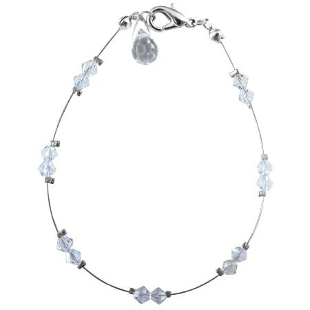 Wedding Party Clear Crystals w/ Glass Bead Teardrop Bracelet