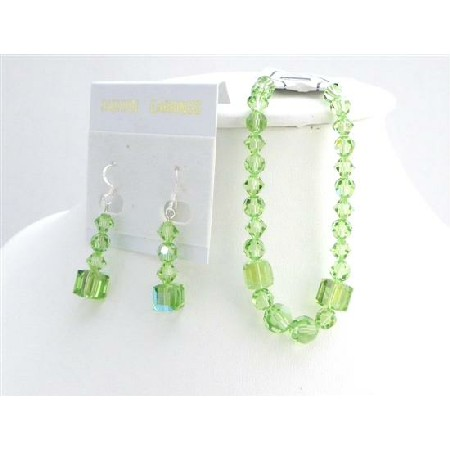Wedding Gift Peridot Crystals Bracelet & Earrings Bridesmaid