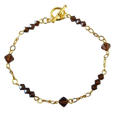 22k Gold Plated Smoked Topaz Crystals Bracelet Gold Bracelet Jewelry