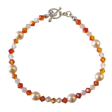 Peach Jewelry Peach Pearl Silk Fire Opal Crystals Bracelet