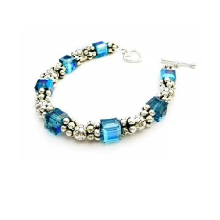 Sterling Silver 92.5 Bracelet w/ Indicolite Bracelet Heart