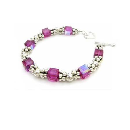 Prom Bridemaid Bracelet Fuchsia Crystals 92.5 Clasp Bracelet