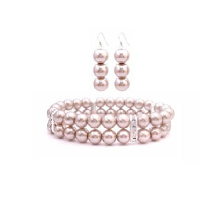 Wedding Jewelry Champagne Pearls Double Stranded Bracelet Earrings Set