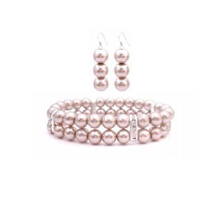 Wedding Jewelry Champagne Pearls Double Stranded Bracelet Earrings Set