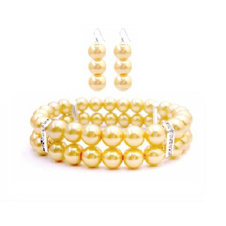 Stunning Yellow Jewelry Double Stranded Bracelet Earrings Prom Jewelry
