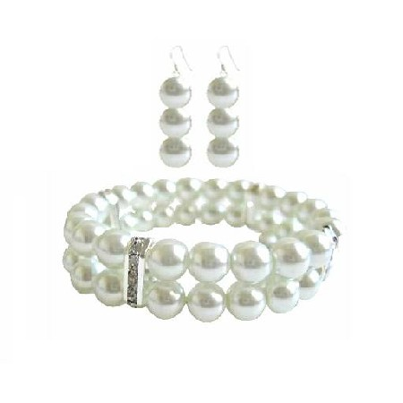 White Pearl Double Stranded Stretchable Bracelet & Matching Earrings