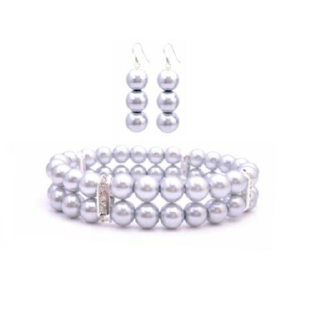 Cheap Jewelry Silver Grey Stretchable Double Stranded Bracelet Earring