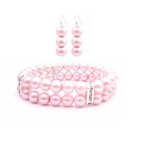 Bridesmaid Gift Rose Pink Pearls Double Stranded Bracelet Earrings Set