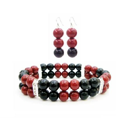 Set Of Bracelet & Earrings In Red & Black Pearls Cheap Wedding Jewelry