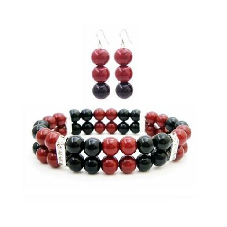 Set Of Bracelet & Earrings In Red & Black Pearls Cheap Wedding Jewelry