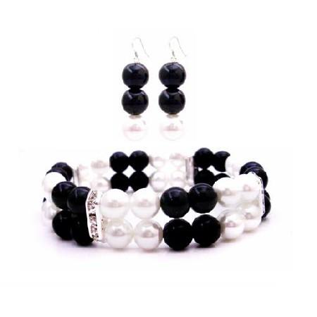 Prom Jewelry Flower Girls Double Stranded Bracelet Black White Pearls