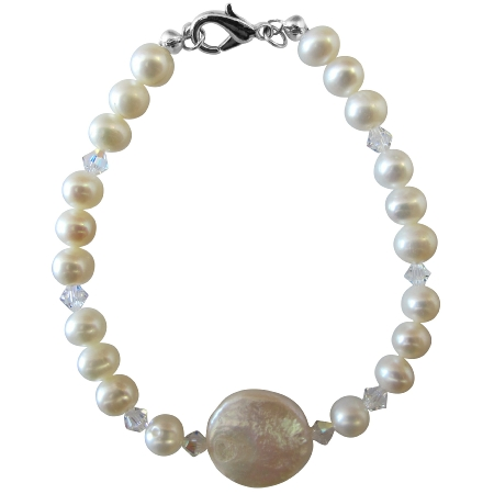 Coin Freshwater Pearls Round Potato Shaped & AB Crystal Bracelet