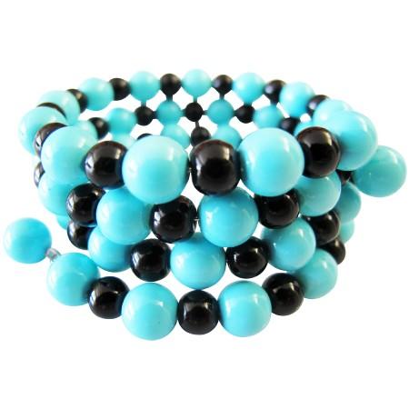 Stranded Bangles Turquiose & Black Pearls 3 Stranded Bangle Bracelet