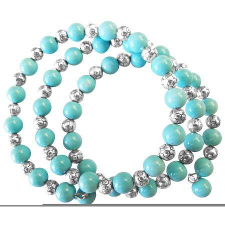 Chic Stranded Bangle Bracelet Turquiose & Bali Silver Spacer Bracelet