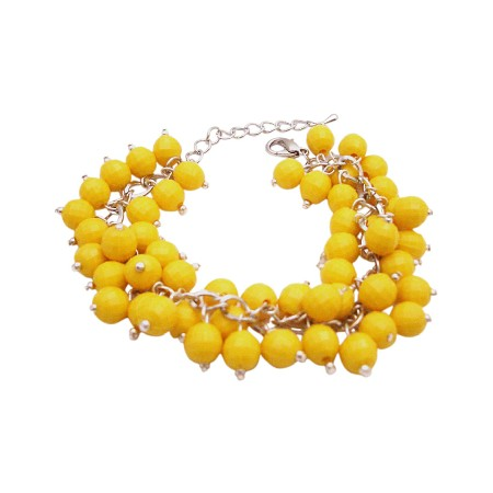 Cluster Bracelet Stylish Yellow Beads Handmade Bracelet