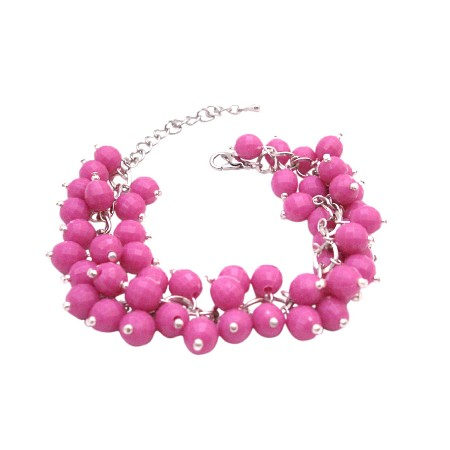Handmade Artisan Jewelry Cluster In Beautiful Pink Beads Chic Bracelet