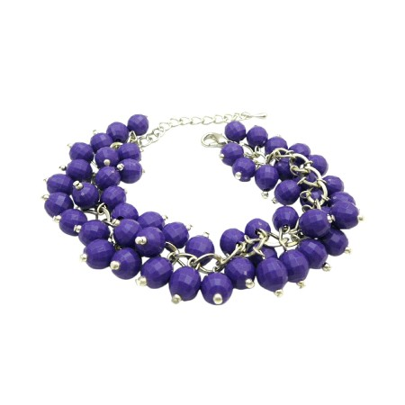 Costume Jewelry Distributors Of Handmade Cluster Purple Beads Bracelet