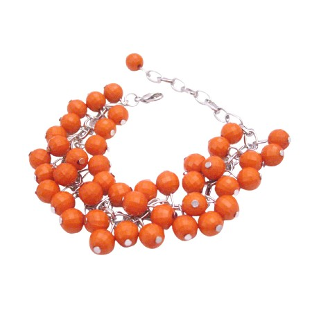 Inexpensive Cluster Bracelet Orange Beads Bracelet Customize Any Color