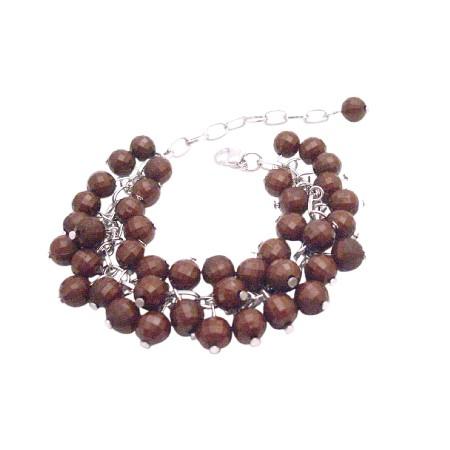 Wedding Bridesmaid Customize Wedding Brown Beads Cluster Bracelet