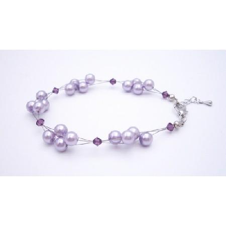 Adorable Bracelet Lilac Pearls Amethyst Crystals Bracelet