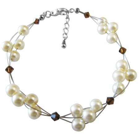 Cheap Jewelry Bridesmaid Under $10 Ivory Pearls Smoked Topaz Crystals