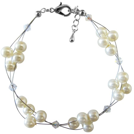 Extensive Selections Bridesmaid Jewelry Ivory Pearls & Clear Crystals