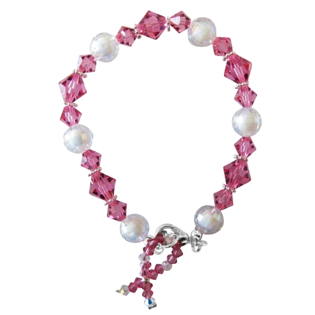 Breast Cancer Awareness Bracelet Crystals Silver Beads