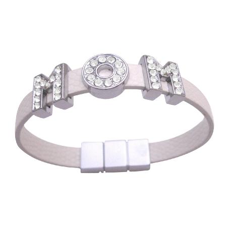 Mom Bracelet On White Cuff Bracelet Can Customize Name Bracelet