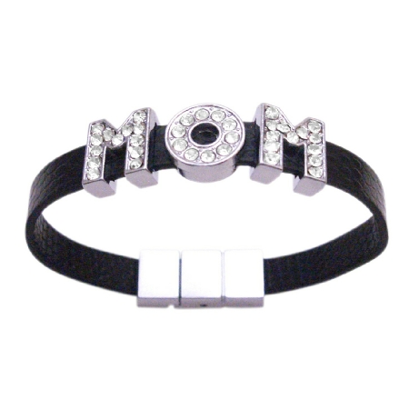 Gift For Mom Jewelry For Mothers Day Mom Word On Black Cuff Bracelet