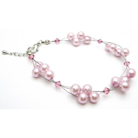 Celebrities Jewelry Pink Pearls Rose Crystal Classy Bracelet