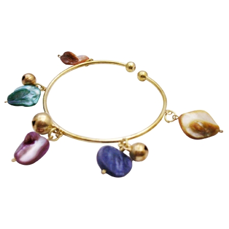 Dangling Colorful Shell Gold Bangle Multicolored Shell Bracelet