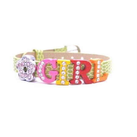 Flower Girl Bracelet w/ Letters Girl & Flower Embedded w/ Crystals