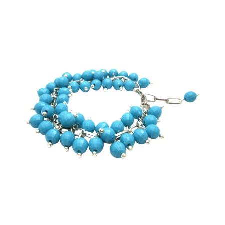 Fun Wearing Stylish Stunning Turquiose Beads Bracelet