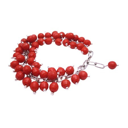 Artisan Creative Jewelry Red Beads Linked Together Cluster Bracelet