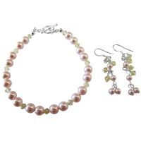 Handmade Jewelry Wedding Bridal Pink & Jonquil Bracelet & Earrings Set :  handmade jewelry giftgiftvalentine jewelry jonquil setdainty