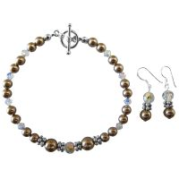 Handcrafted Customize Wedding Jewelry Champagne Pearls Clear Crystals :  pearls handcrafted pearls setearringearringsaccessoryaccessoriestoggle champagne
