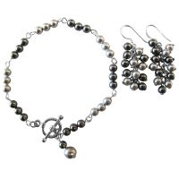 Prom Jewelry Gift Bridemaids Lite & Dark Gray Combo Bracelet Earrings