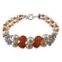 Wife Girl Friend Mother Stylish Swarovski Pearls & Crystals Bracelet :  flower girl bracelet ideagiftromantic wife bracelet