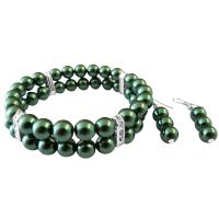 Green Pearls Jewelry Set Double Stranded Bracelet & Earrings Pearls :  earrings silver gift simulated pearls bracelet earrings