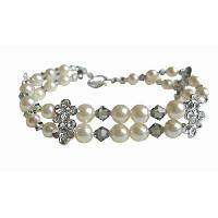 Black Diamond Crystals Swarovski Cream Pearls Double Stranded Bracelet :  swarovski crystals bracelet cream pearls bracelet giftgiftsilver jewelryjewelrybridal