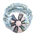 Multi Stranded Bracelet Fashion Bracelet Turquiose Beads & Round Shell Bracelet