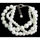 White Pearl Twisted Bracelet Bridal Chunky Style Bracelet